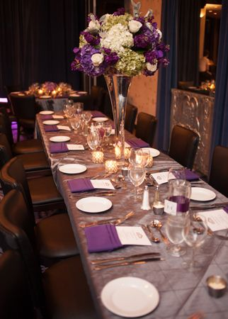 Wedding Receptipn #Purple - Photo: Sheaulee Ng Photography / Featured: The Knot Blog