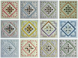A Round Dozen - 12 original Hardanger designs, all sharing a recognisable pattern but all made up from different stitches