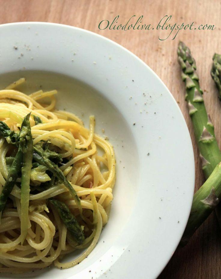 Spaghetti al baccalà e asparagi al profumo di zafferano