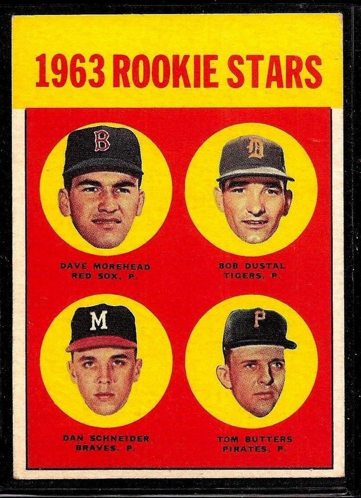 1963 TOPPS BASEBALL RED SOX PIRATES ROOKIE STARS DAVE MOREHEAD CARD RC #299 EX+ #BostonRedSox