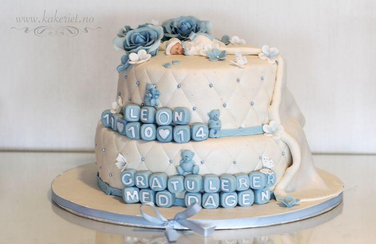 2014-10-19-Leon01 Christening cake baby boy blue roses :)