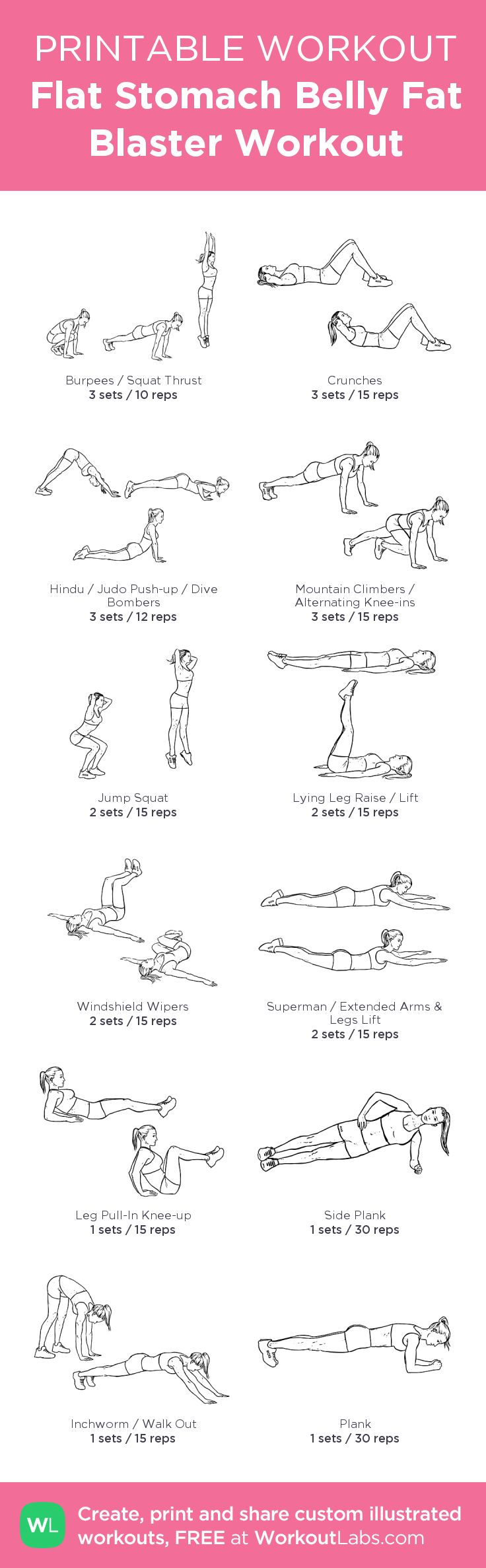 Flat Stomach Belly Fat Blaster No Equipment Workout for Women – Free beginner printable workout you can do at home without weights today! Visit http://wlabs.me/1pirVdg