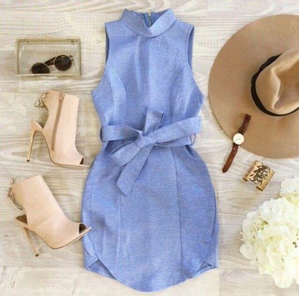 CUTE BLUE VEST BOW DRESS HIGH QUALITY