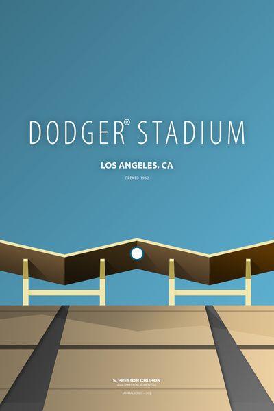 Minimalist Dodger Stadium - Los Angeles Art Print