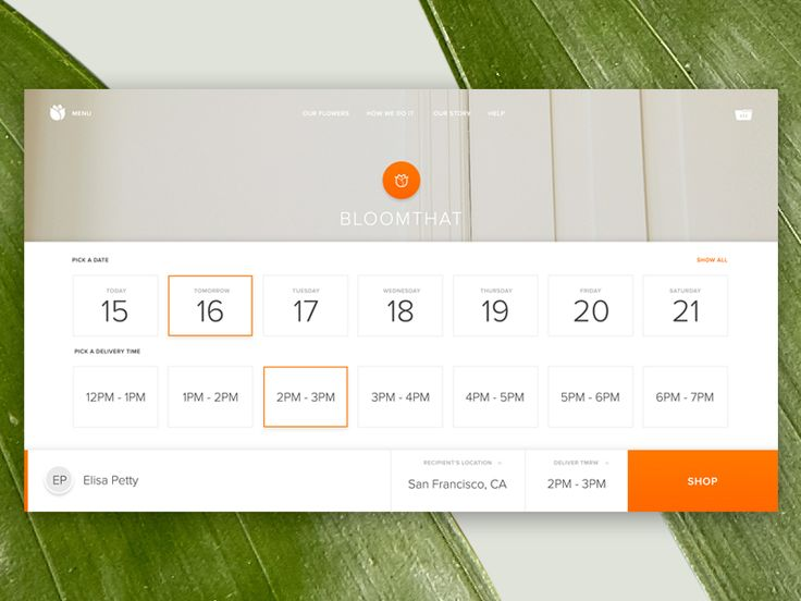 Here's a peak at Bloomthat.com's new landing page with the delivery date/time picker that slides up from the bottom. Again, keeping inline with the app design.  Bloomthat is an incredible flowers o...