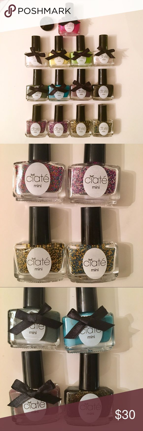 Ciate London mini nail polishes & caviar nails Lot of 13 nail polishes, comes with funnel because of the caviar nail polishes. All brand new.  Shades are: candyshop, bumble bee, prom queen, sundance, vintage, fade to greige, twilight, headliner, big yellow taxi, halo, angel wings, mojito and cupcake queen 😍 ciate london Makeup