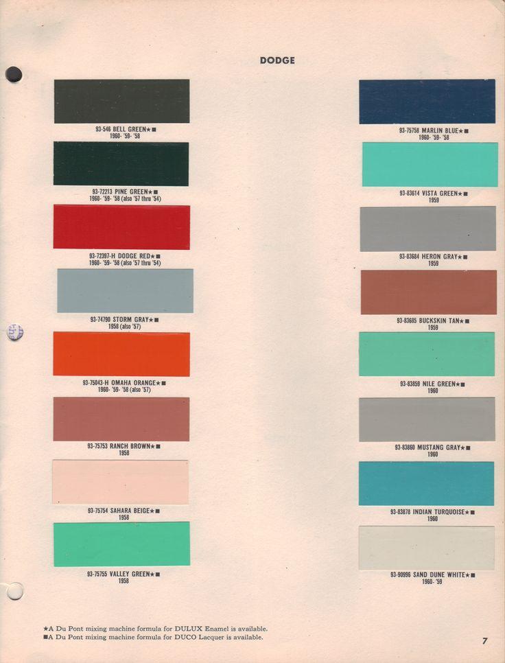 Paint Chips 1959 Dodge Truck | Chips/\Codes/\Paint #'s ...