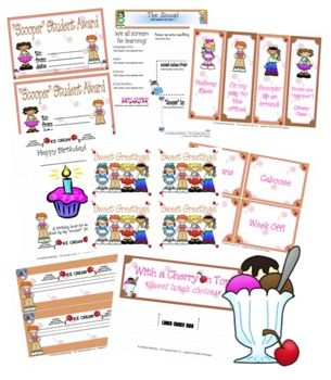 "Your kiddos will love this ""scooper"" ice cream theme set!This set includes almost 30 pages of files with super cute graphics by Thistle Girl Designs!You will receive:*an award*2 different sets of bookmarks*a fillable calendar*a desk tag*a fillable newsletter*a fillable ""notebook"" page template*student of the week page in color and black and white*a fillable binder/folder cover*a fillable lesson plan template*thank you card*post card*theme set with job cards, birthday book, hall passes, and…"