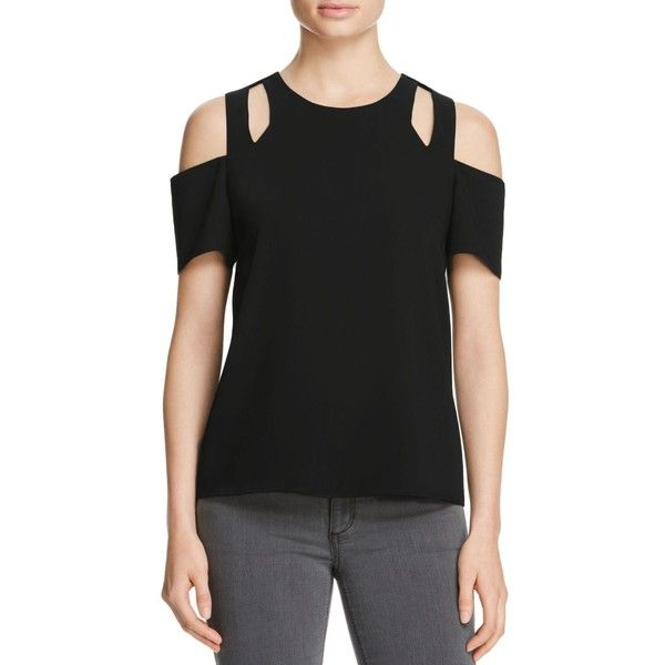 Cooper & Ella Padma Cold Shoulder Top (395.120 COP) ❤ liked on Polyvore featuring tops, black, cold shoulder tops, cut-out shoulder tops, cut out shoulder top, cutout tops and cut-out tops