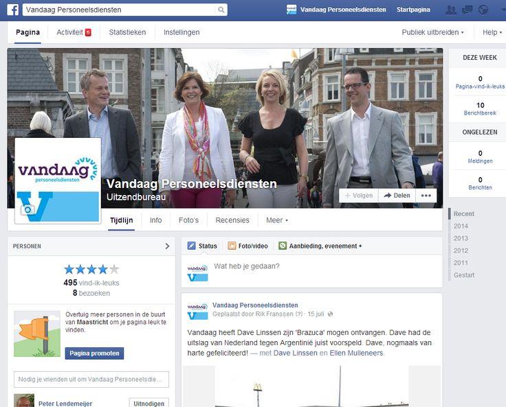 Facebook pagina Vandaag Persroneelsdiensten