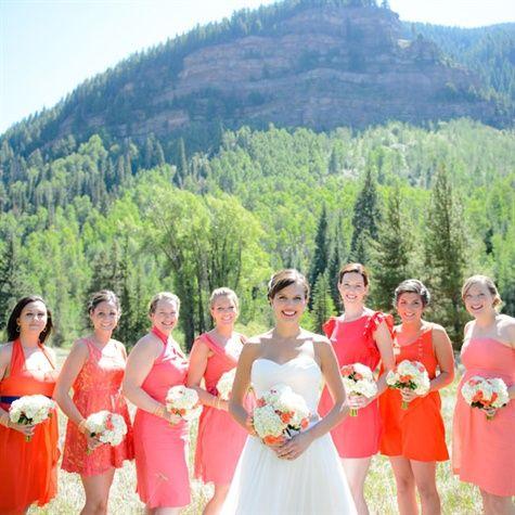 Orange and coral dresses.