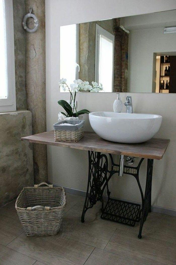 vasque salle de bain calme commode miroir grand - Salle De Bain Vintage Design