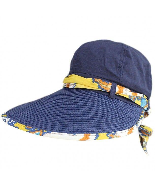 9048e47d Women Summer Beach Big Brim Straw Cotton Top Ribbon Travel Folding ...