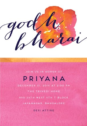 Golden Godh Bharai Baby Shower Invitation for Inks Edge