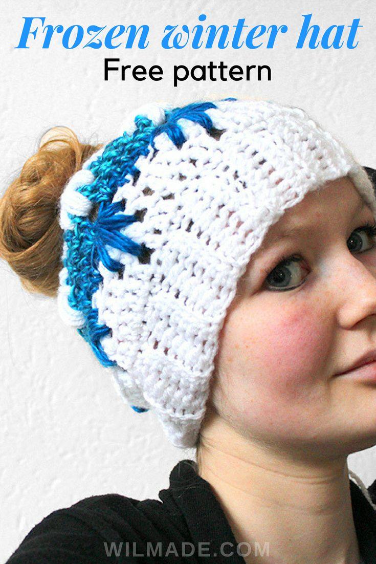 Free #crochet pattern to make this Frozen Winter (bun) #hat on wilmade.com