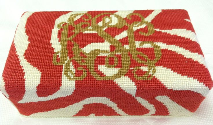 Needlepoint Monogrammed Doorstop In Red Zebra Print And