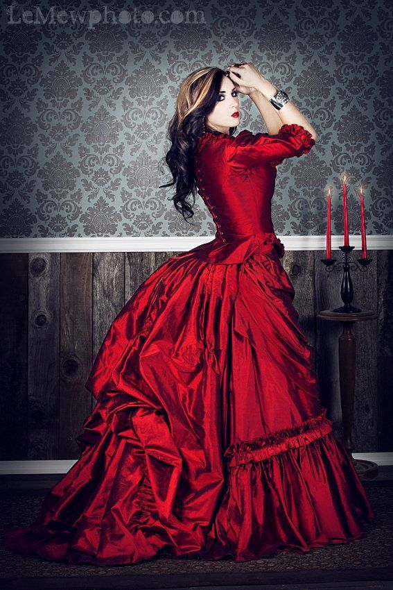 Lady Steampunk in Red: Victorian Gothic, Fashion, Red, Gothic Wedding, Colors, Silk Gowns, Victorian Dresses, The Dresses, Steampunk