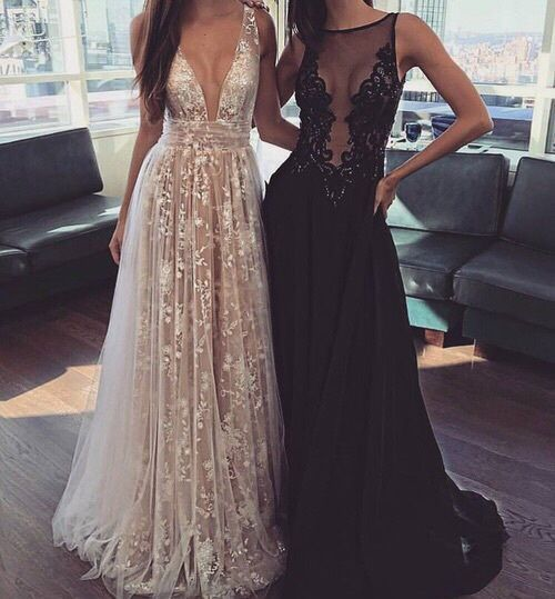 2017 New Arrival Lace Appliques Floor Length Prom Dress for Girls,Sexy V Neckline Evening Dress for Women,