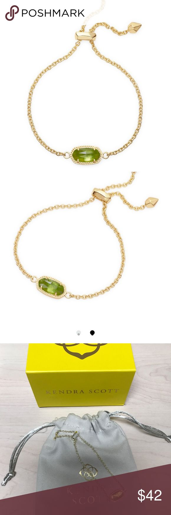 """Kendra Scott Elaina Adjustable Chain Bracelet Whether you like your bracelets loose or close to the wrist, the adjustable Elaina Bracelet in Peridot Illusion is a delicate addition to any arm party. Gift Hint: This is perfect for August birthdays!  • 14K Gold Plated Over Brass • Size: 0.38""""L x 0.75""""W stationary pendant, 9""""L circumference • Adjustable sliding bead closure • Material: peridot illusion Kendra Scott Jewelry Bracelets"""