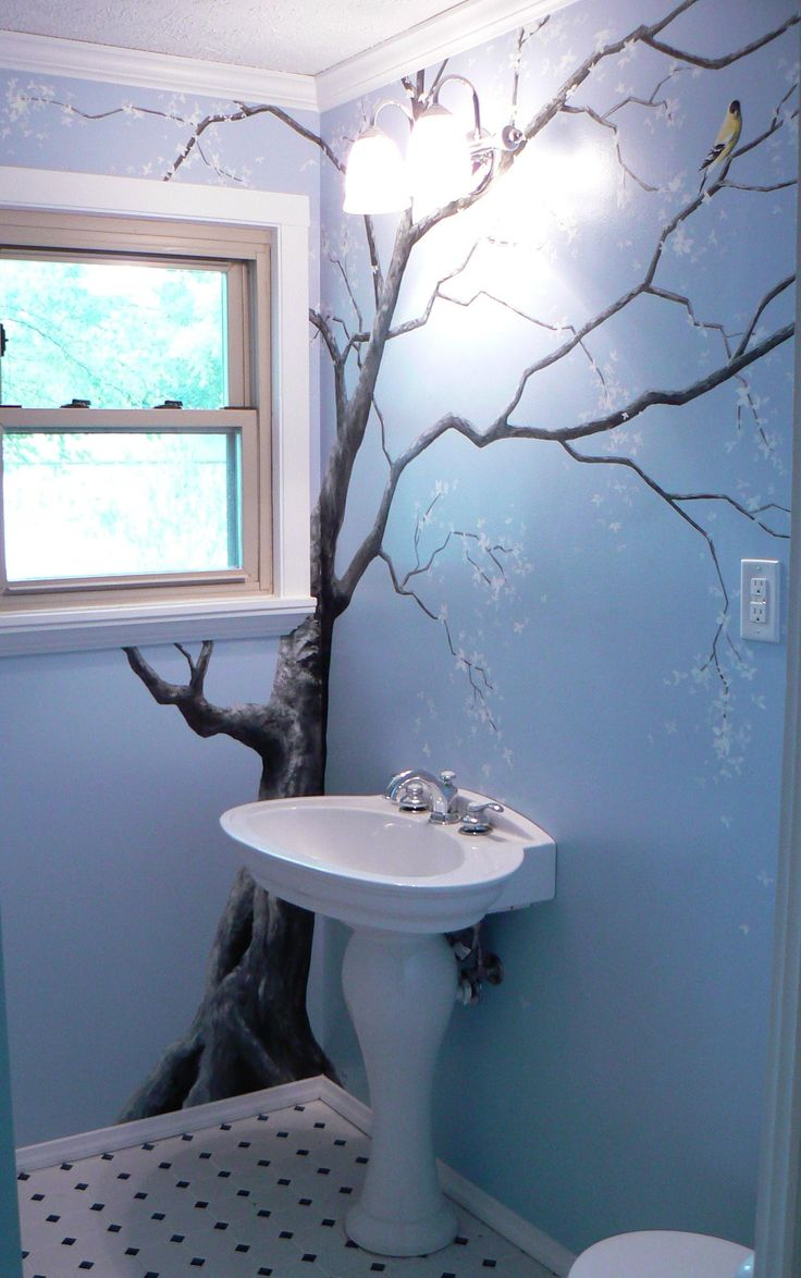 Sweet tree mural for the home pinterest sweet trees for Bathroom wall mural ideas