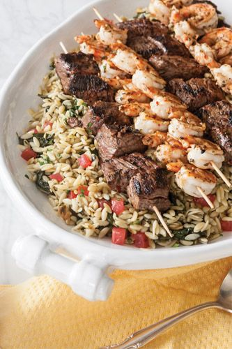 Shrimp & Steak Kabobs - try with quinoa salad instead of Orzo