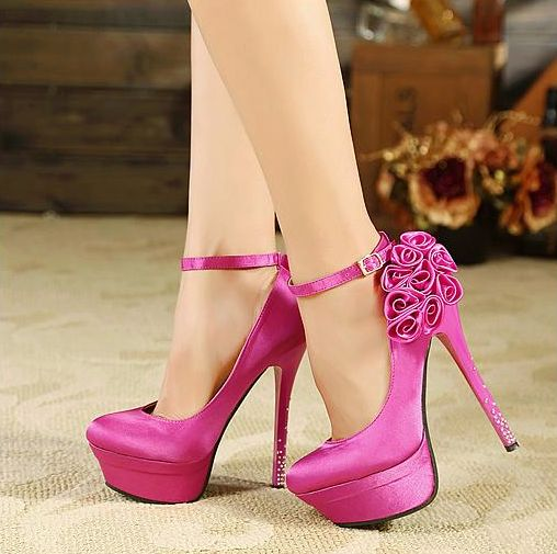 Ravishing High Heels With Flower Design Click the picture to see more