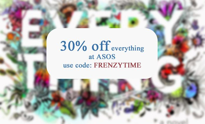 Enter coupon code FRENZYTIME at ASOS today and enjoy 30% off everything. http://www.codesium.com/asos-discount-code/