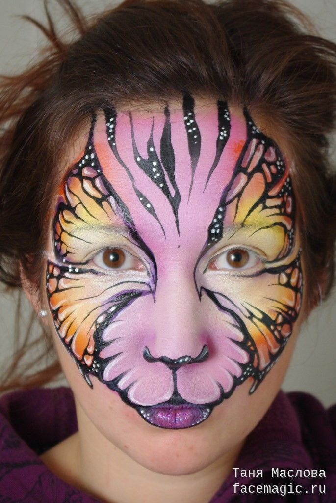 Tiger butterfly. Face paint by Tanya Maslova.