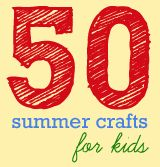 50 summer crafts for kids:  pressed flowers, cardboard doll house, cornstarch mix, water color painting, rain sticks, fabric braided necklaces, paper boats....etc...