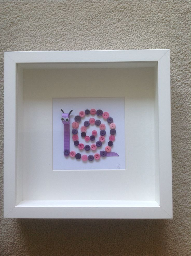 Snail Ribbon and Button Art. Cute for a child's room.