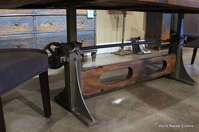 """84"""" л кривошип обеденный стол промышленный дизайн старые деревянные топ железная база впечатляющий"""