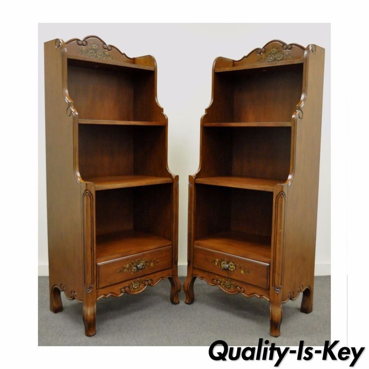 Pair Contemporary French Country Style Carved Bookcase Stands Curio Shelves #FrenchCountry