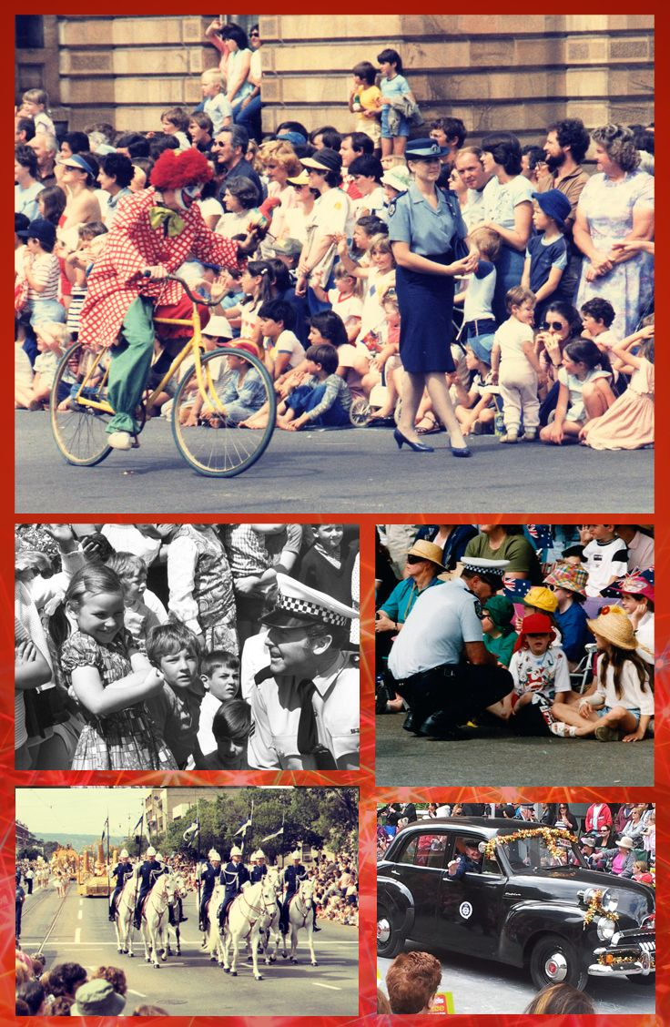 Historic photographs of South Australia Police attending Adelaide's Christmas Pageant C. 1980 to 2013. #Christmas #Pageant #Adelaide