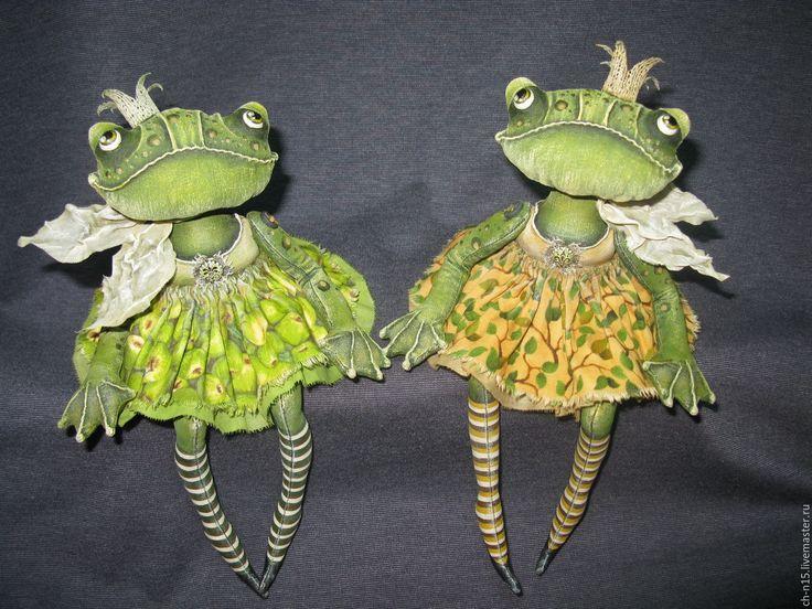 Купить Царевна-лягушка (1) - зеленый, лягушки, принцесса, интерьерная игрушка, грунтованный текстиль