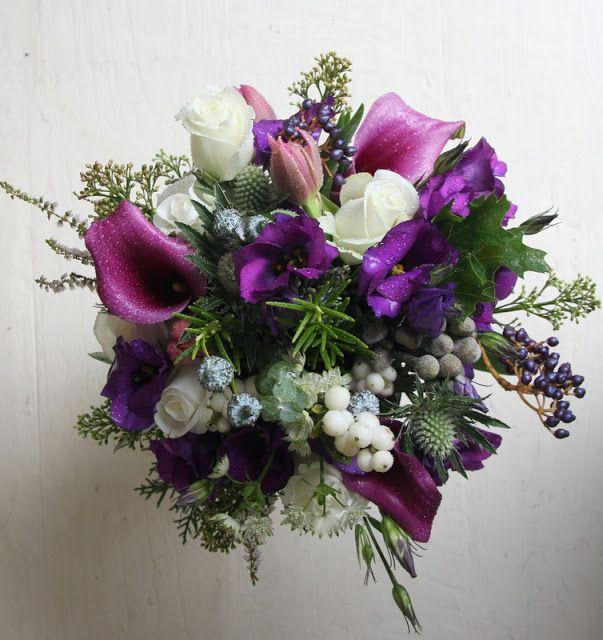 Violet Wedding Bouquet | Purple Christmas Wedding Bouquet of Eustoma, Akito Roses, Purple ...
