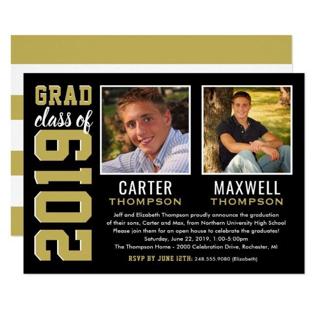 Two Graduates Black and Gold 2019 Graduation Party Invitation