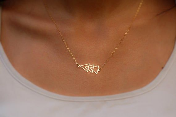 Geometric Triangle Necklace 14k Gold Filled Dainty Etsy In 2020 Triangle Necklace Gold Triangle Necklace Geometric Necklace