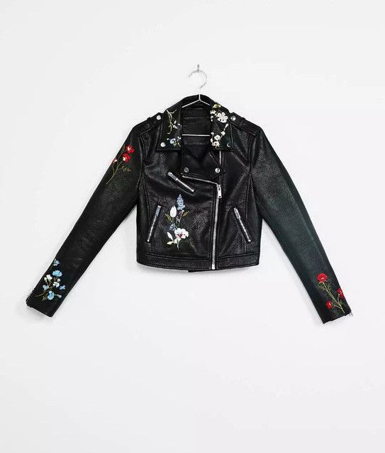 New Fashion casual short Leather jacket women coat long sleeve turn-down collar slim Flower Embroidery women jacket