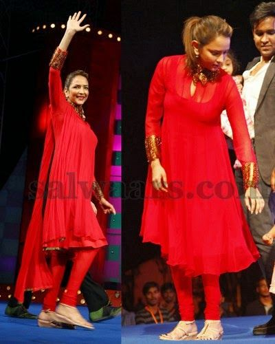 Lakshmi Manchu Red High Neck Churidar