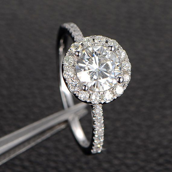 6.5mm Round Moissanite Solitaire Engagement Ring with Halo in 14K White Gold, Promise Ring, Rose Gold, Yellow Gold Available on Etsy, $719.00