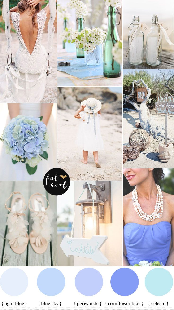 Beach wedding { cornflower blue and shades of blue } | http://www.fabmood.com/beach-cornflower-blue-wedding/