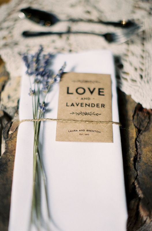 Simple place setting with lavender could put in a packet of lavender seeds and a brown coloured name tag