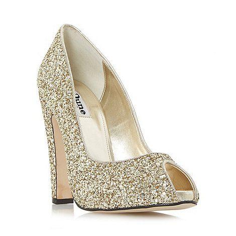 Dune Gold 'Discoo' peep toe glitter high heel court shoe   Debenhams