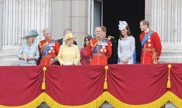 "Saturday, June 16, 2012. Queen Elizabeth II Prince William and Duke of Edinburgh at the ""Trooping the Colour Ceremony"" as part of the Queen's birthday celebration.  ."