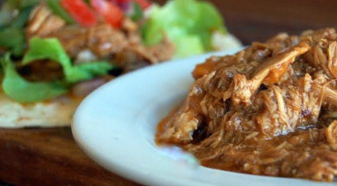Shredded Chicken with Barbecue Sauce, either in oven or the slow cooker.  From $120 Food Challenge.  Uses maryland or thigh.