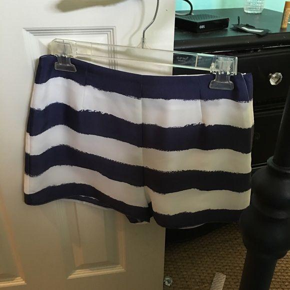 BCBGeneration shorts BCBGeneration shorts, only worn once. Navy and white stripe pattern BCBGeneration Shorts Skorts