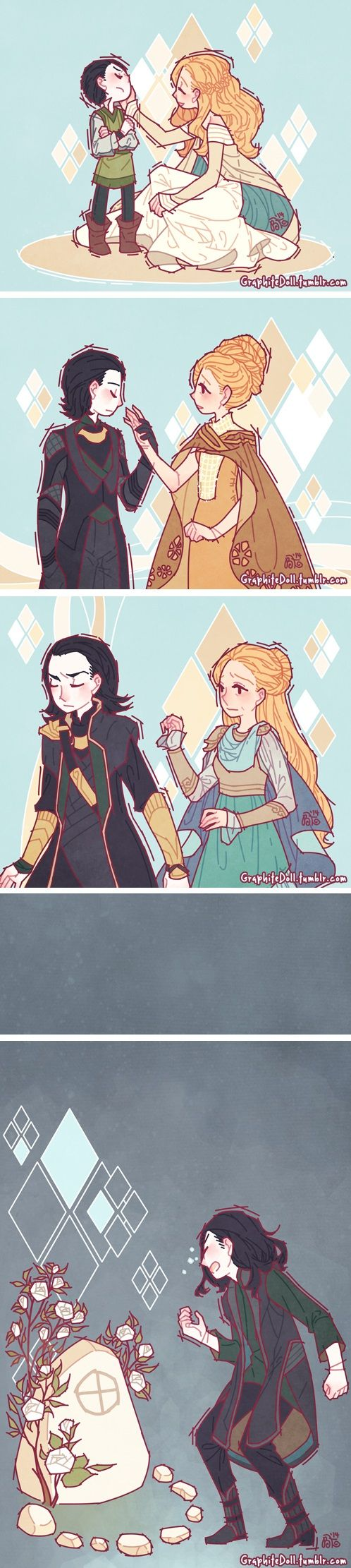 Loki and Frigga... So many feels....... :( (and such a pretty art style hnnng)