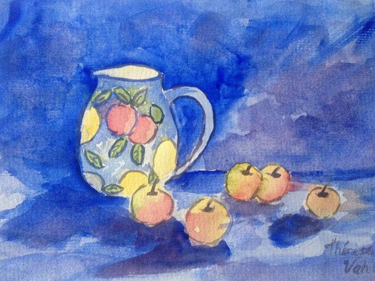 Blue Acrylic Painting, Watercolor Style. Jug and Fruit. Cottage Charm. by ArtByTherese on Etsy