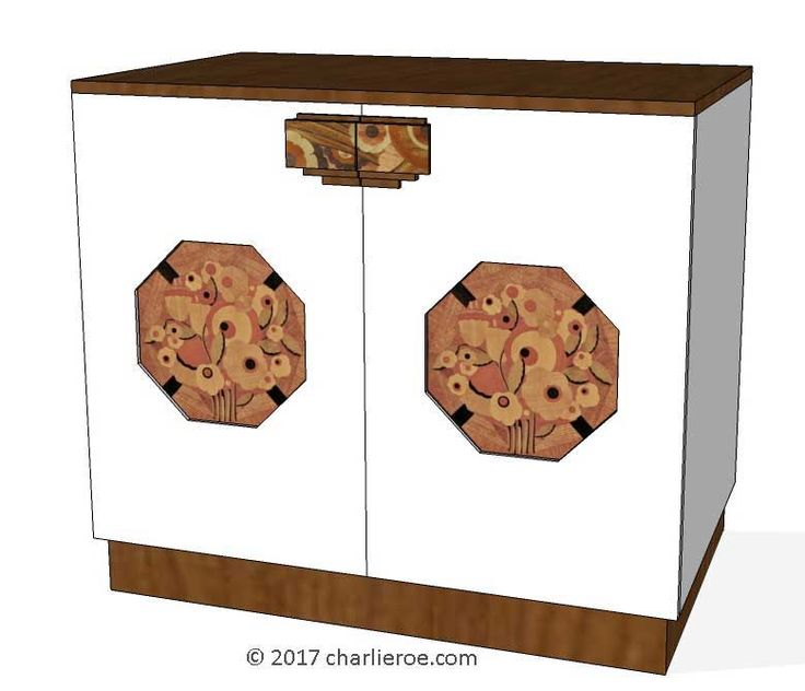 TDS - The Design Service - New Art Deco 2 door cabinet, cupboard, bar or sideboard, lacquered painted with veneered marquetry panels & handles