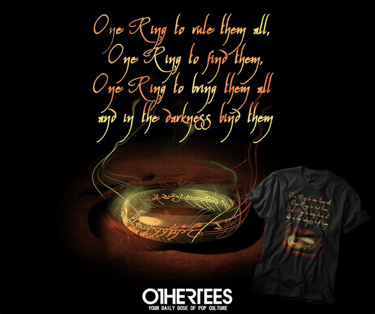 """ONE RING"" by MAGDALEN T-shirts, Tank Tops, V-necks, Hoodies and Sweatshirts are on sale until October 19th at www.OtherTees.com #tshirt #othertees #clothes #popculture #books #movies #lotr #hobbit #tolkien #thering #lordoftherings #baggins #frodo #bilbo #gandalf"